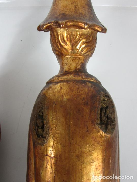 Arte: Pareja de Tallas de Madera - Figuras Orientales - Estípites - Dorados en Pan de Oro - S. XIX - Foto 28 - 203971498