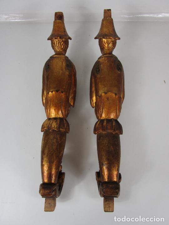 Arte: Pareja de Tallas de Madera - Figuras Orientales - Estípites - Dorados en Pan de Oro - S. XIX - Foto 30 - 203971498