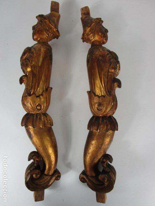 Arte: Pareja de Tallas de Madera - Figuras Orientales - Estípites - Dorados en Pan de Oro - S. XIX - Foto 31 - 203971498