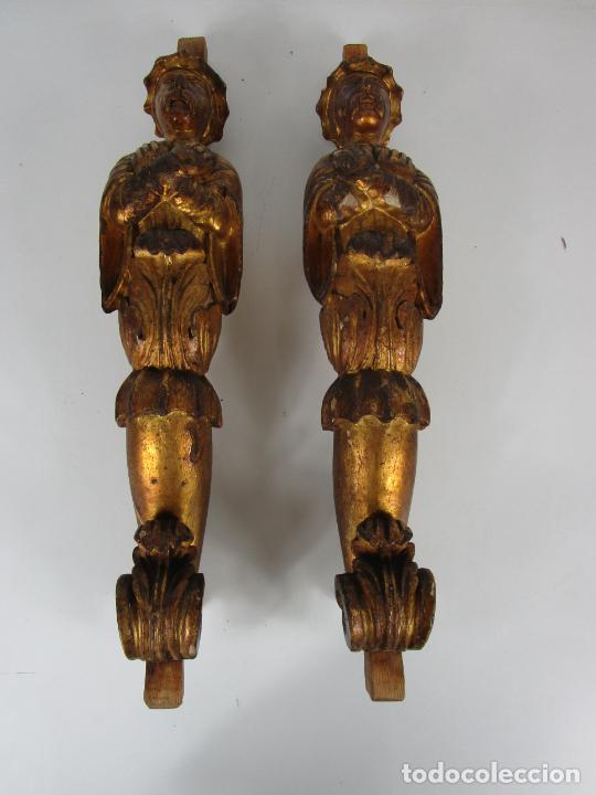 Arte: Pareja de Tallas de Madera - Figuras Orientales - Estípites - Dorados en Pan de Oro - S. XIX - Foto 32 - 203971498