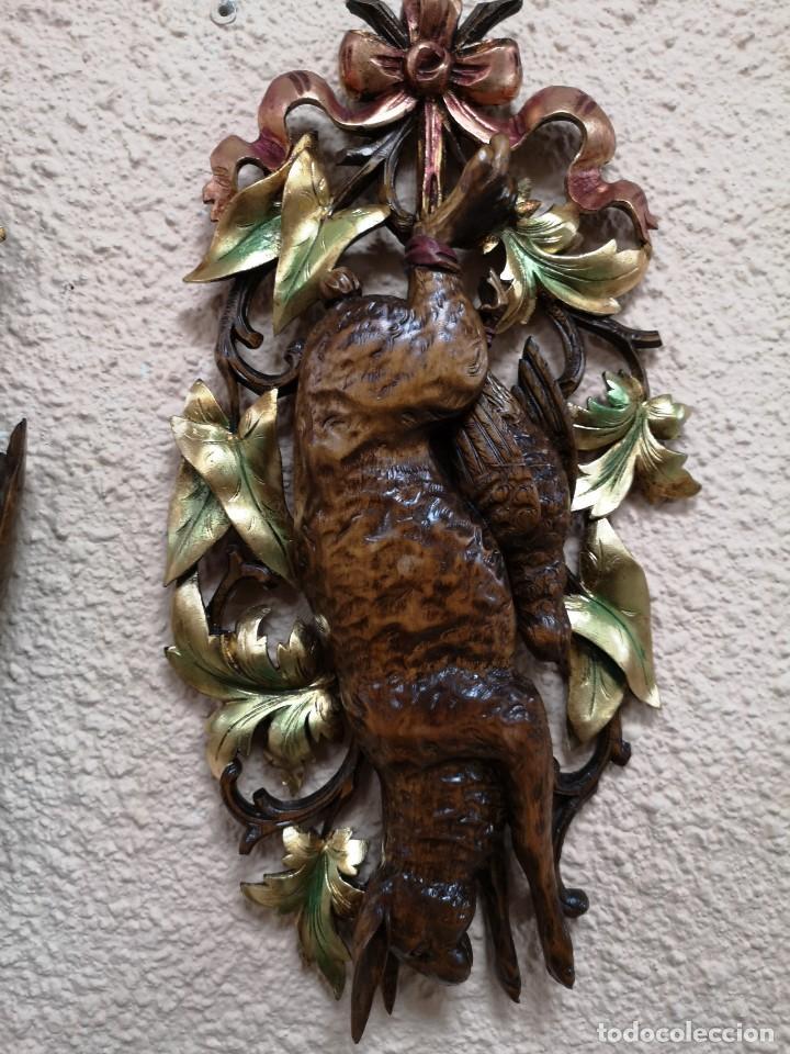 Arte: 2 escudos de caza madera de nogal - Foto 3 - 204176595