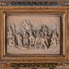 Arte: RELIEVE PIEDRA TALLADA - ESCENA MEDIEVAL - CABALLO, CABALLEROS, CLERIGOS Y PEREGRINOS - S.XIX. Lote 204277366