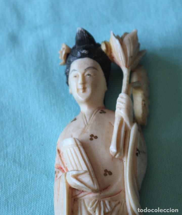 Arte: Talla japonesa de marfil pintado. Japanese sculpture of painted ivory. - Foto 4 - 71660359