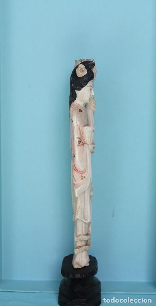 Arte: Talla japonesa de marfil pintado. Japanese sculpture of painted ivory. - Foto 7 - 71660359