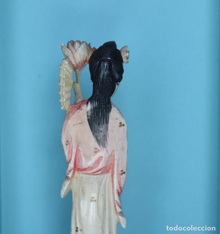 Arte: Talla japonesa de marfil pintado. Japanese sculpture of painted ivory. - Foto 10 - 71660359
