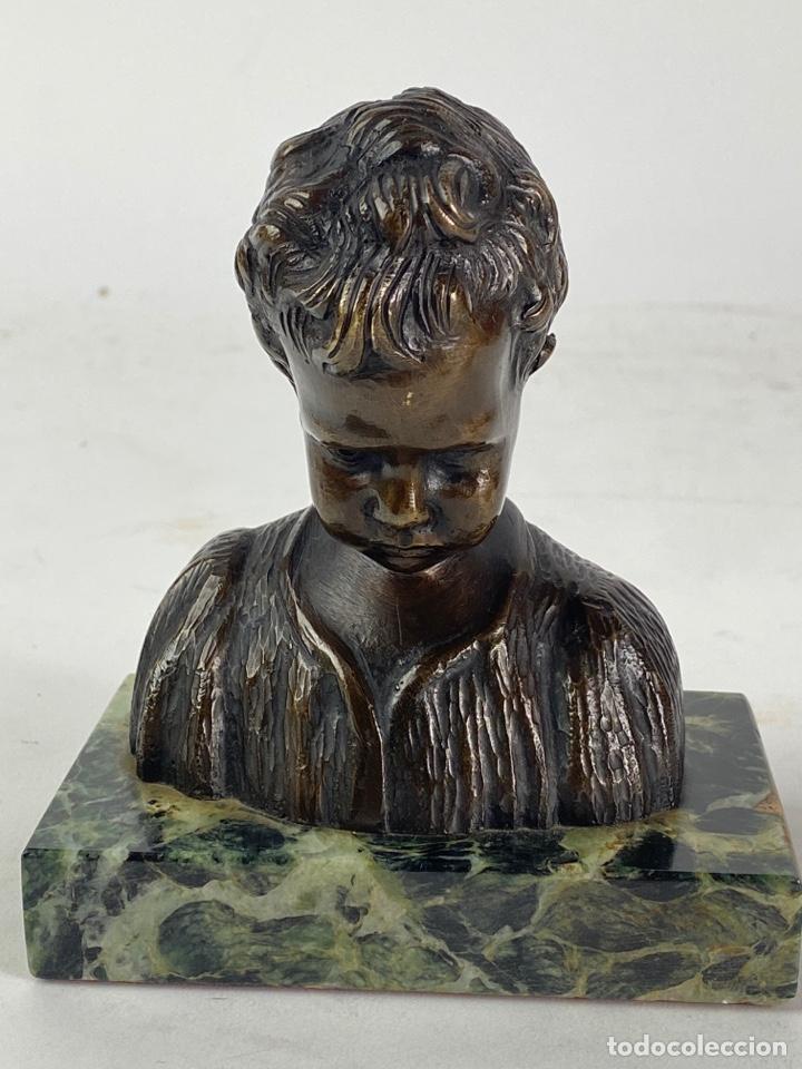 BUSTO DE UN NIÑO EN BRONCE. PRINCIPIOS S.XX. (Arte - Escultura - Bronce)