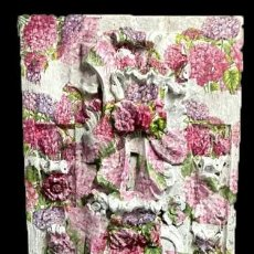 Arte: ANTIGUA TABLA DE RETABLO DECORADA CON HORTENSIAS. 173X55. Lote 205073578