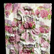 Arte: ANTIGUA TABLA DE RETABLO DECORADA CON HORTENSIAS. 173X55. Lote 205073578