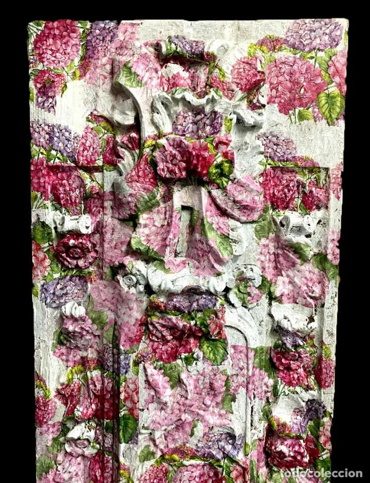 Arte: Antigua tabla de retablo decorada con hortensias. 173x55 - Foto 2 - 205073578