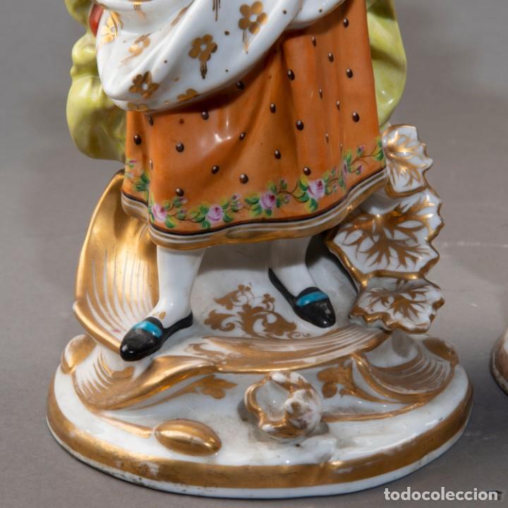 Arte: Pareja de candeleros de una vela en porcelana francesa del siglo XIX. - 40*17cm - Foto 4 - 205139197