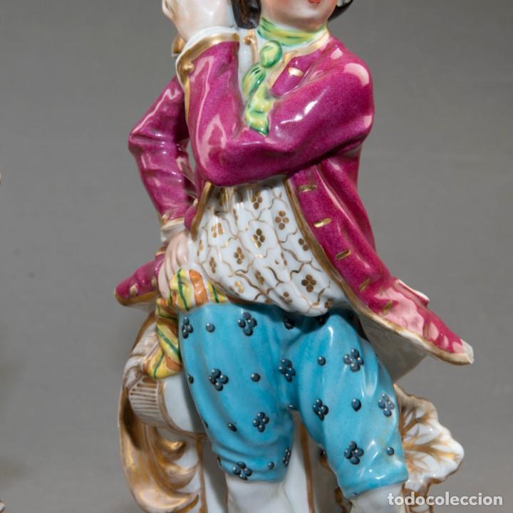 Arte: Pareja de candeleros de una vela en porcelana francesa del siglo XIX. - 40*17cm - Foto 6 - 205139197