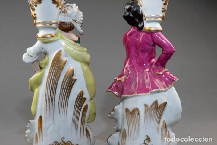 Arte: Pareja de candeleros de una vela en porcelana francesa del siglo XIX. - 40*17cm - Foto 10 - 205139197