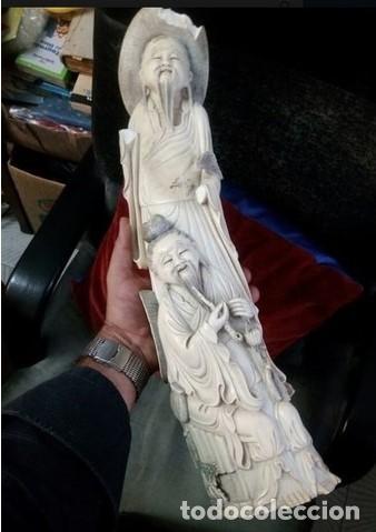 GRAN TALLA ESCULTURA CHINA HUESO SIGLO XIX O ANTERIOR.. CERTIFICADO (Arte - Escultura - Hueso)