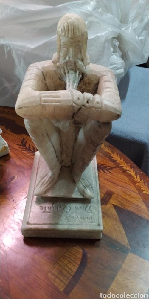 """Arte: Pareja de Sujetalibros """"El Quijote"""". Alabastro - Foto 2 - 205762985"""
