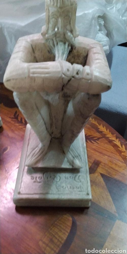 """Arte: Pareja de Sujetalibros """"El Quijote"""". Alabastro - Foto 6 - 205762985"""