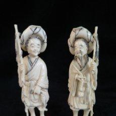 Arte: 2 ESCULTURAS DE MARFIL, PESCADORES JAPONESES.. Lote 207816315