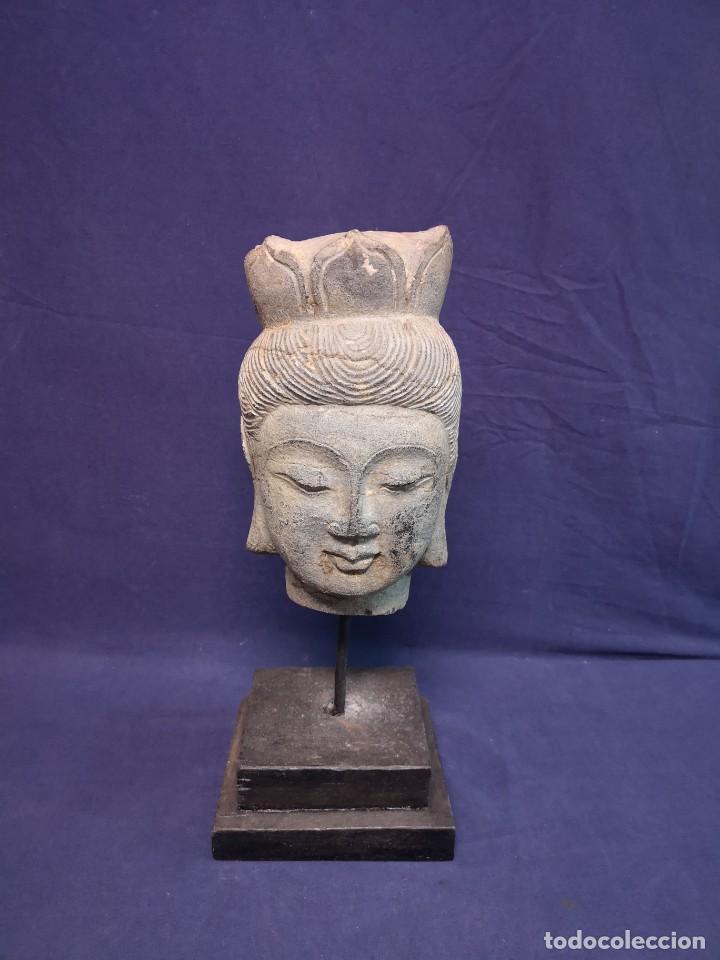 CABEZA BIRMANA ANTIGUA (Arte - Escultura - Piedra)