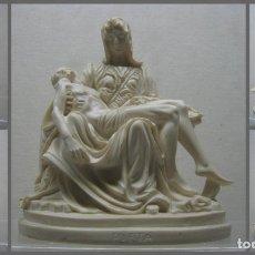Arte: BELLA ESCULTURA PIEDAD DE MIGUEL ANGEL EN PASTA DE ALABASTRO MARMOLINA 1,2 KG PIETA. Lote 208996176