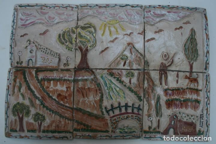 ALFARERIA CERAMICA HERMANOS MORILLO MALAGA: COMPOSICION PAISAJE LOZAS BARRO COCIDO PINTADO A MANO (Arte - Escultura - Terracota )