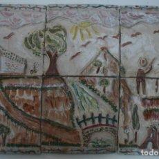 Arte: ALFARERIA CERAMICA HERMANOS MORILLO MALAGA: COMPOSICION PAISAJE LOZAS BARRO COCIDO PINTADO A MANO. Lote 209037483
