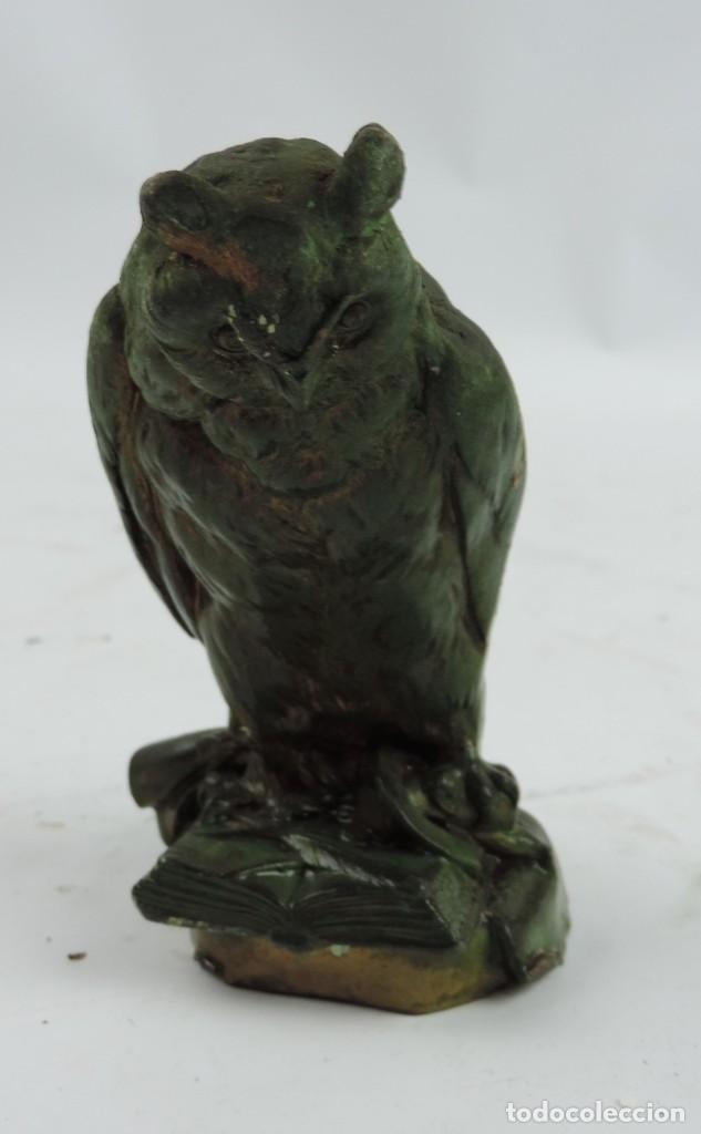 ESCULTURA DE BRONCE DE BUHO CON LIBRO, PLUMA, POSIBLEMENTE PARA ESCRIBANIA, FIRMADO POR G. GROBE (O (Arte - Escultura - Bronce)