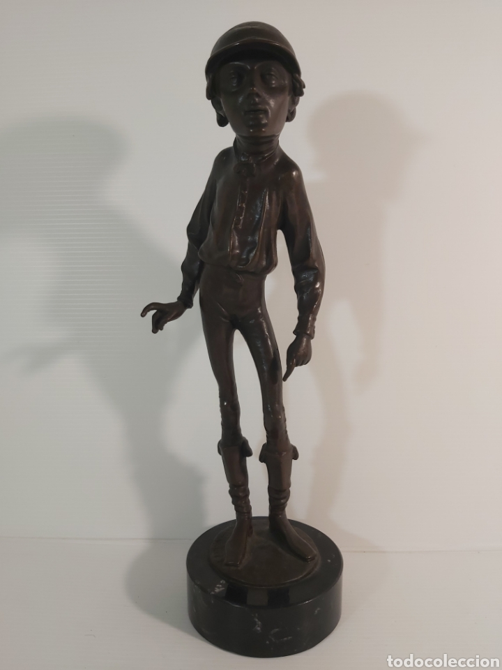 ANTIGUA ESCULTURA EN BRONCE. JOKEY ÉMILE GUILLEMIN 1841-1907 (Arte - Escultura - Bronce)