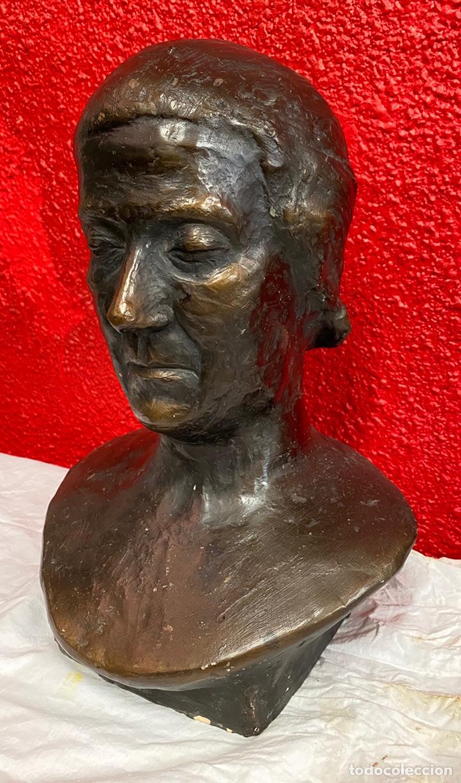 Arte: Antiguo busto, escultura de terracota imitando el bronce de Dante Alighieri. Firmada. Siglo XIX. - Foto 2 - 129109075