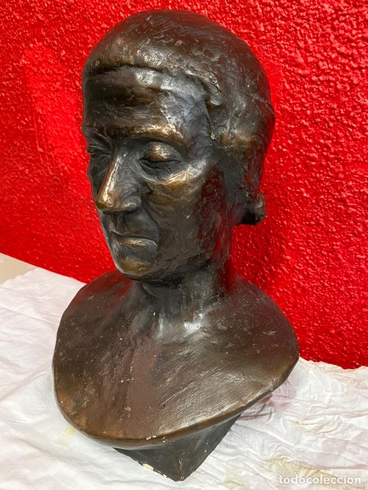 Arte: Antiguo busto, escultura de terracota imitando el bronce de Dante Alighieri. Firmada. Siglo XIX. - Foto 3 - 129109075
