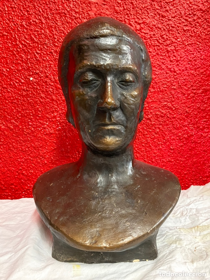Arte: Antiguo busto, escultura de terracota imitando el bronce de Dante Alighieri. Firmada. Siglo XIX. - Foto 5 - 129109075