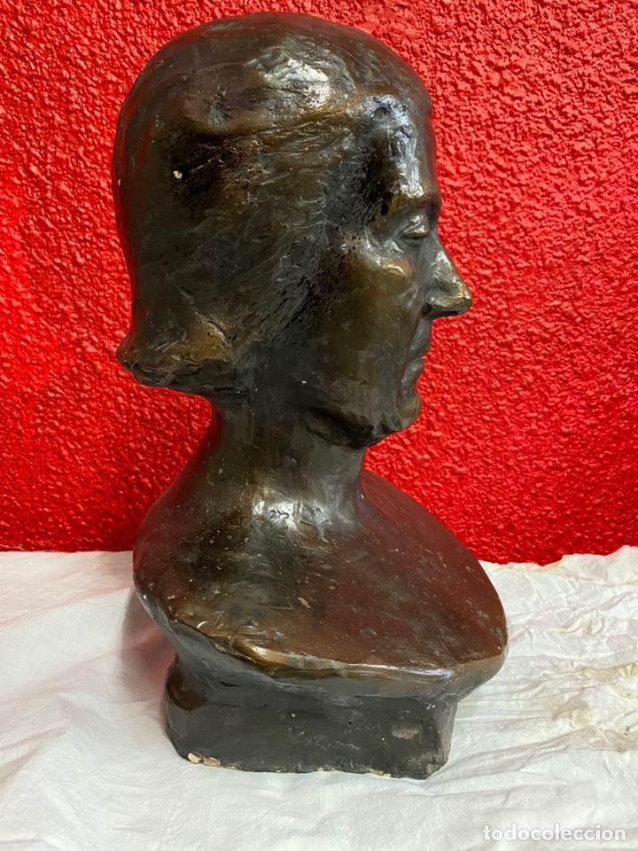 Arte: Antiguo busto, escultura de terracota imitando el bronce de Dante Alighieri. Firmada. Siglo XIX. - Foto 4 - 129109075