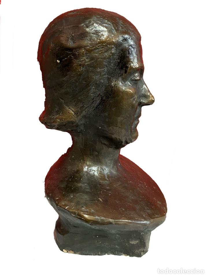 Arte: Antiguo busto, escultura de terracota imitando el bronce de Dante Alighieri. Firmada. Siglo XIX. - Foto 7 - 129109075