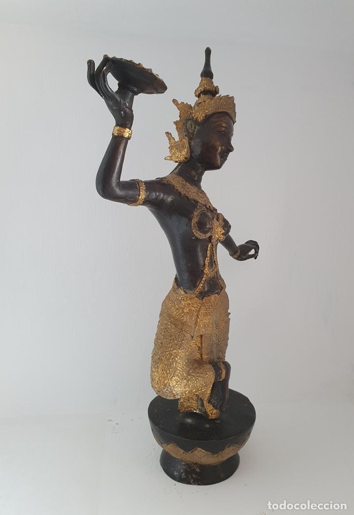 Arte: Gran escultura antigua de Bailarín Tailandés Khon en bronce cincelado parcialmente patinado . - Foto 5 - 210413787