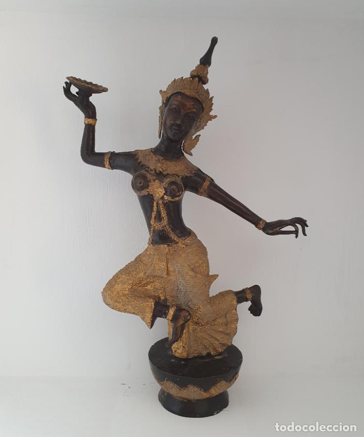 Arte: Gran escultura antigua de Bailarín Tailandés Khon en bronce cincelado parcialmente patinado . - Foto 6 - 210413787
