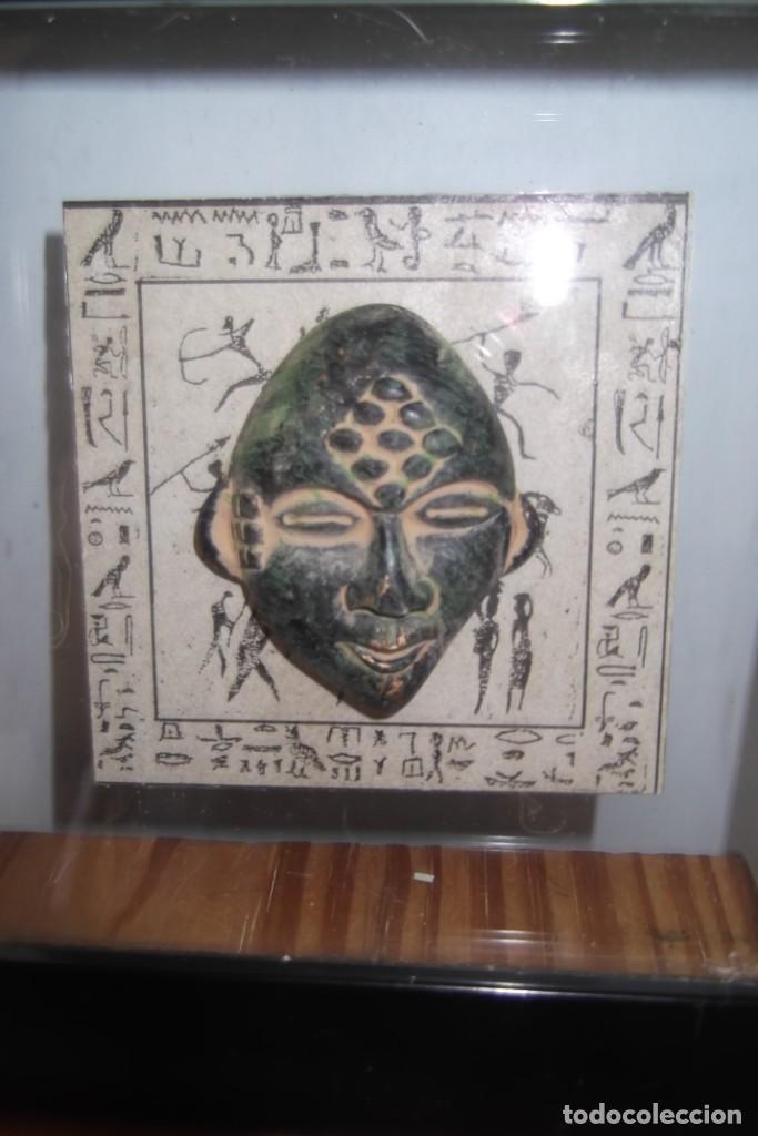 """Arte: ¡¡ MASCARA """" CAZADOR PREHISTORICO """" BRONCE, EN un marco VIRINA !! - Foto 2 - 210439137"""