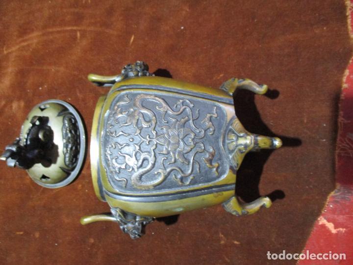 Arte: inciensario chino en bronce siglo xviii - Foto 3 - 210454466