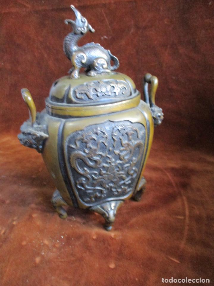 Arte: inciensario chino en bronce siglo xviii - Foto 4 - 210454466