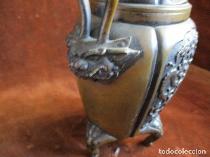 Arte: inciensario chino en bronce siglo xviii - Foto 5 - 210454466