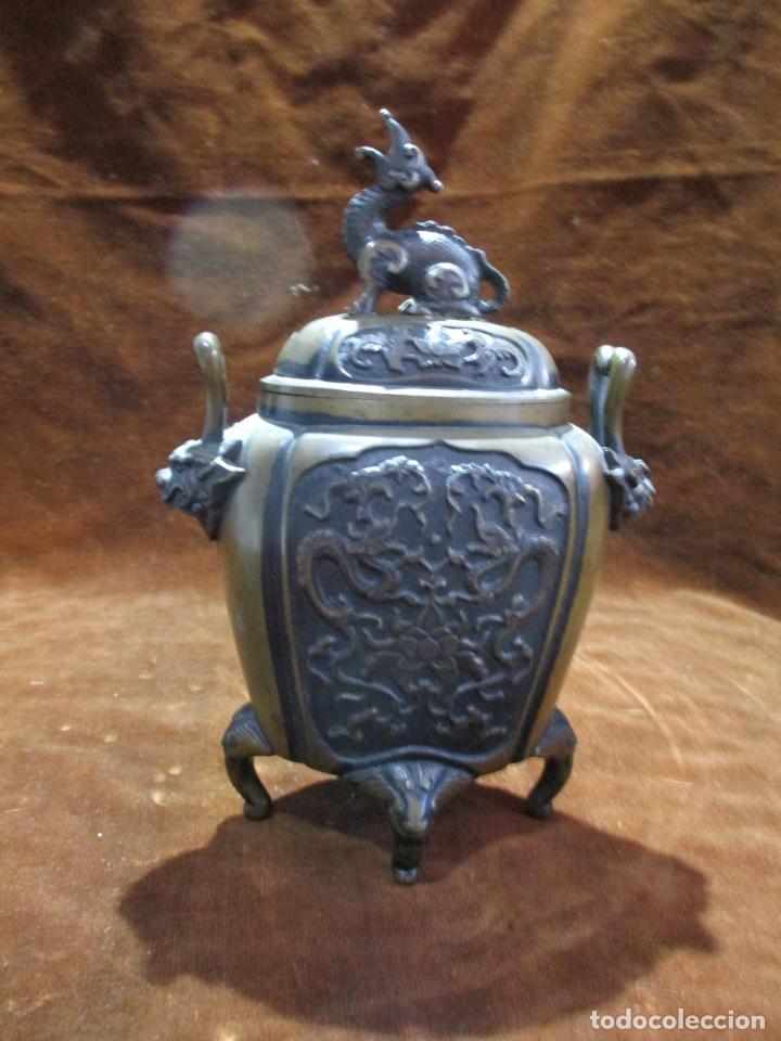 Arte: inciensario chino en bronce siglo xviii - Foto 7 - 210454466