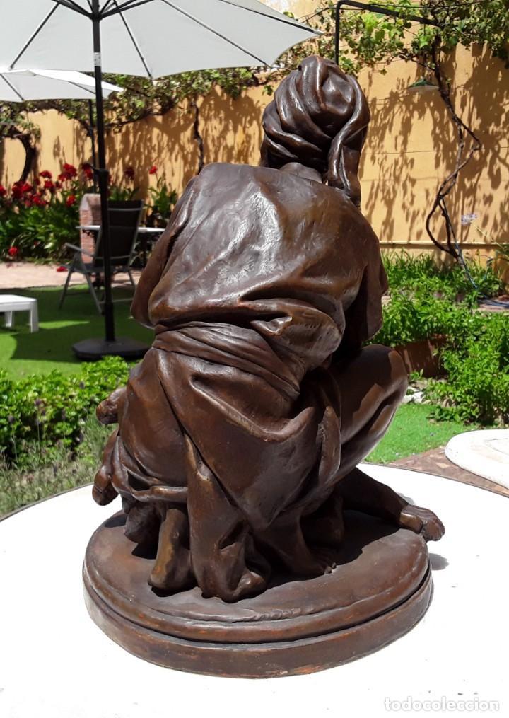 """Arte: Agapito Vallmitjana Abarca.""""Domador de leones"""". Antigua Terracota acabada con pátina de bronce.SXIX - Foto 6 - 211277272"""