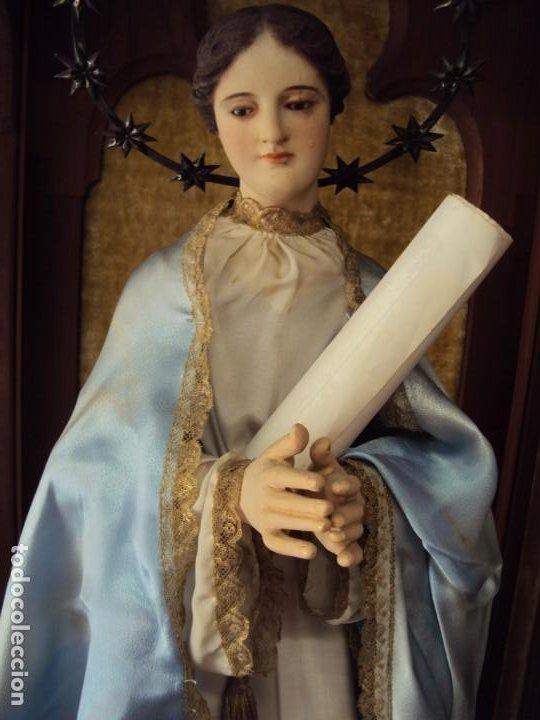 (ANT-200745)CAPIPOTA INMACULADA CONCEPCION - SIGLO XIX - CAPILLA - CORONA DE PLATA - CERTIFICADO (Arte - Escultura - Madera)