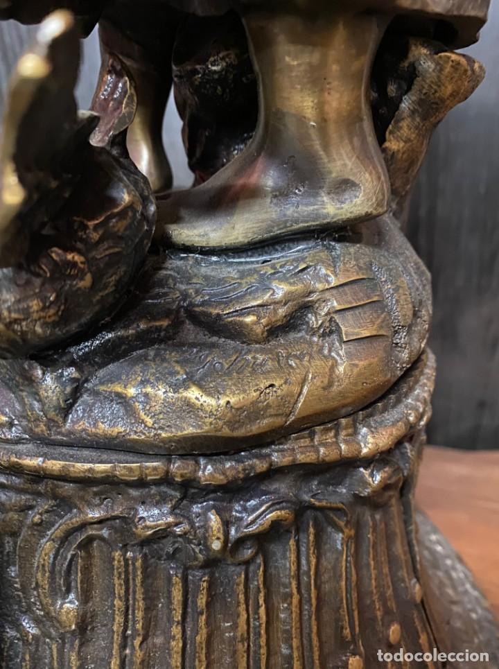 Arte: Antiguo reloj, escultura ,figura, de bronce macizo, modernista. 65x30x22cm Marcel Début - Foto 8 - 121351295