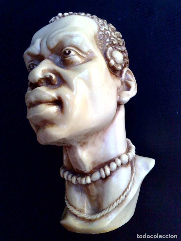 Arte: BUSTO ARTESANAL DE RESINA DE HOMBRE AFRICANO (DESCRIPCIÓN) - Foto 2 - 211504736