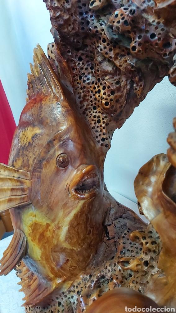 Arte: ESCULTURA DE MADERA DE RAIZ DE TEJO TALLADA A MANO. GRAN TAMAÑO. MOTIVOS MARINOS. PECES - Foto 8 - 212251882