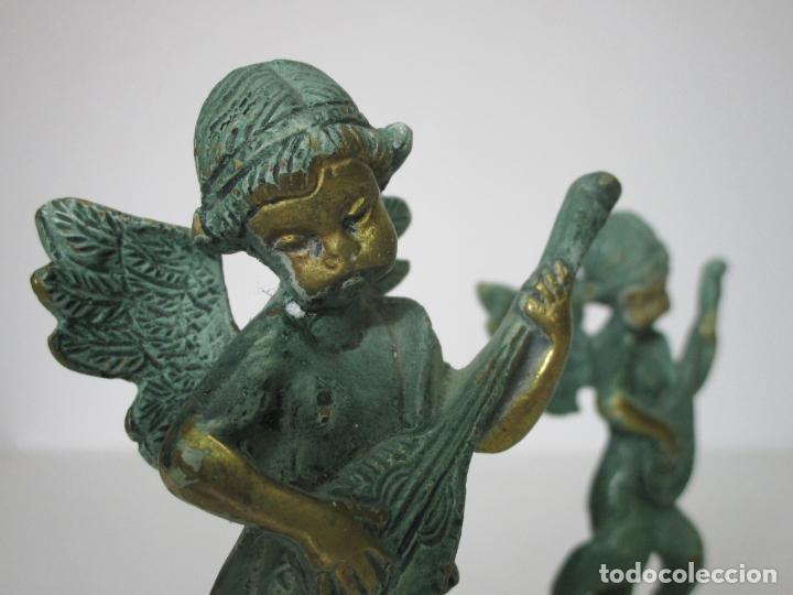 Arte: Pareja de Ángeles Músicos - Bronce Cincelado - Bonita Patina - 15 cm Altura - Foto 12 - 213093801