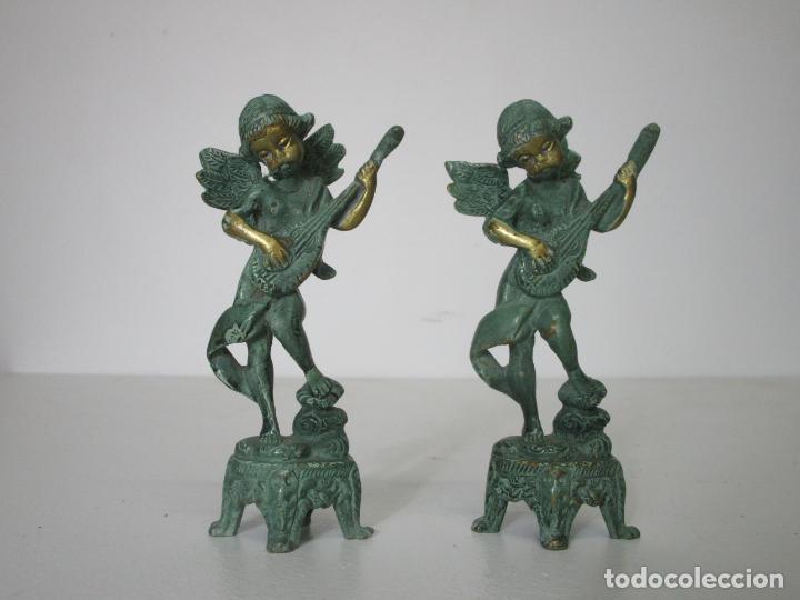PAREJA DE ÁNGELES MÚSICOS - BRONCE CINCELADO - BONITA PATINA - 15 CM ALTURA (Arte - Escultura - Bronce)