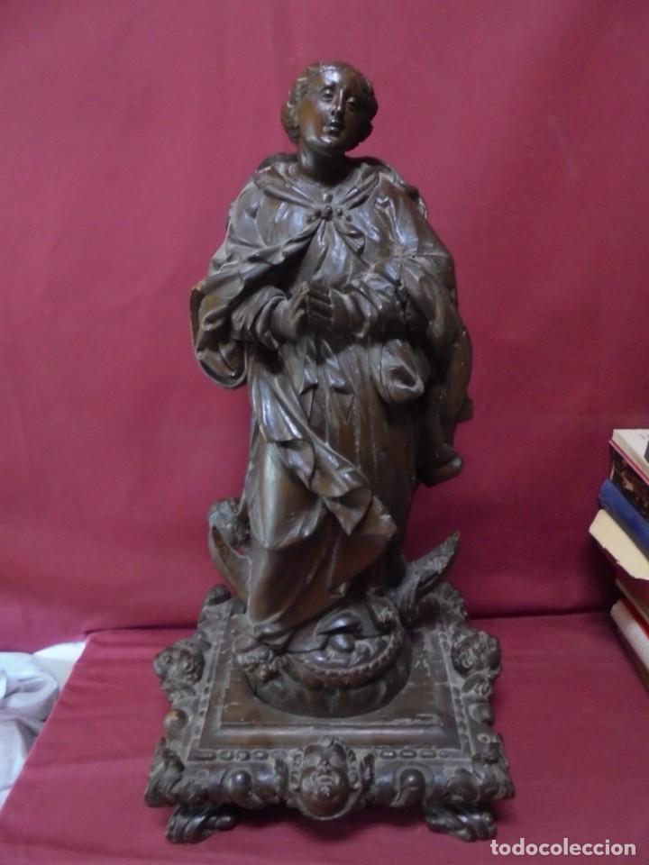 MAGNIFICA GRAN TALLA DE MADERA ANTIGUA DEL SIGLO XVIII DE INMACULADA CONCEPCION,SALIDA 1 EURO (Arte - Escultura - Madera)