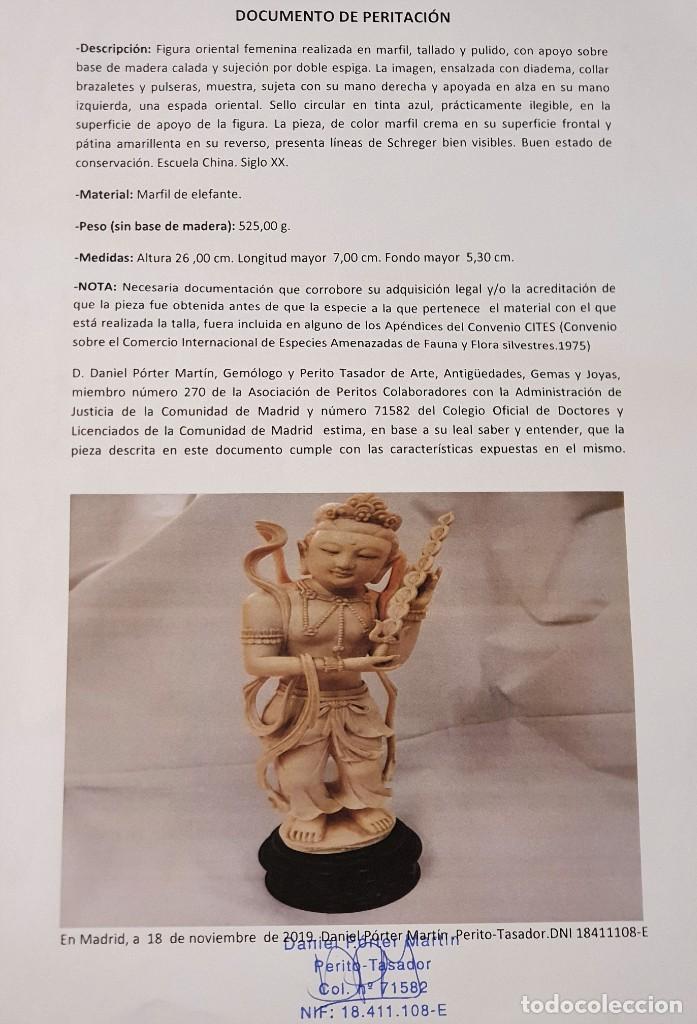 Arte: PAREJA DE FIGURAS EN MARFIL CON CERTIFICADO DE PERITACIÓN - Foto 2 - 213415890