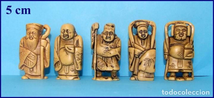 BUDA DE LA SUERTE LOTE DE 5 FIGURAS EN RESINA PROMOCIONALES FRANCIA AÑOS 70 (Arte - Escultura - Resina)