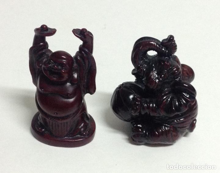 Arte: Figuras chinas, buda feliz y elefante con pelota. Miniaturas. - Foto 3 - 213656408
