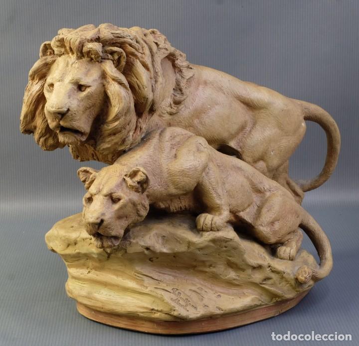 AGAPITO VALLMITJANA ABARCA (1850-1915) LEONES EN TERRACOTA FIRMADO (Arte - Escultura - Terracota )